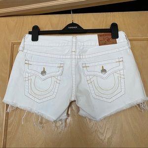 New TRUE RELIGION Keira White Denim Shorts